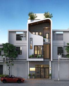 Zitate, um ein Haus zu bauen, ein Pakethaus in Ho Chi Minh Stadt zu bauen, ein Pakethaus zu bauen. Narrow House Designs, Modern Small House Design, Bungalow House Design, House Front Design, Modern Bungalow, Modern Architecture House, Architecture Design, Architecture Interiors, Gothic Architecture