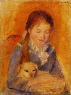 Girl with a Dog - Pierre-Auguste Renoir