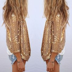 Shiny Jacket #sequins #denimshorts #tshirt