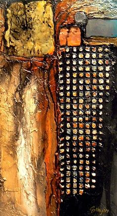 Glitter Gulch 2, 9093 by Carol Nelson Acrylic ~ 11 x 6  Various metals and metal leaf were used to create this highly textured abstract on cradled panel.