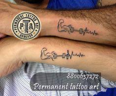Gym lover tattoo design idea, fitness tattoo design, gym tattoo , biceps tattoo, dumbbells tattoo, music symbol tattoo, heart beat tattoo, friends forever tattoo design idea, friends tattoo design  Done by -Deepak Karla 8800637272   AT- Permanent tattoo art, Gurgaon Delhi/NCR http://www.permanenttattooart.com/ https://www.facebook.com/PermanentTattooArt tattoo in Gurgaon (Haryana)