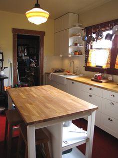 Stenstorp kitchen island from Ikea Kitchen Islands, Ikea Island, Harvest Kitchen, Ikea Kitchen, Kitchen Ideas, Home Hacks, Kitchen Organization, Shelves, Kitchens