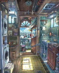 Aesthetic Art, Aesthetic Anime, Fantasy Landscape, Fantasy Art, Landscape Art, Personajes Studio Ghibli, Arte 8 Bits, Kunstjournal Inspiration, Arte Cyberpunk