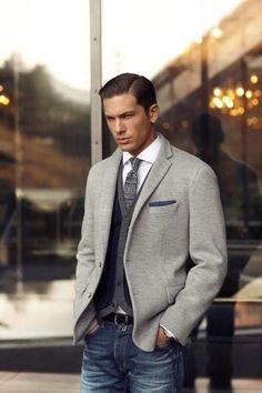 Men's Grey Knit Blazer, Navy Cardigan, White Dress Shirt, Navy Jeans