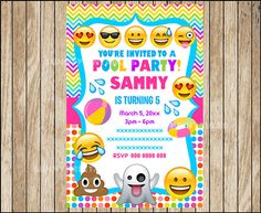 Printable Emoji Pool Party Party Invitation Swim Party Emoji - Birthday invitation on mail