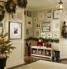 I love the idea of wreaths for the stairs instead of garland!