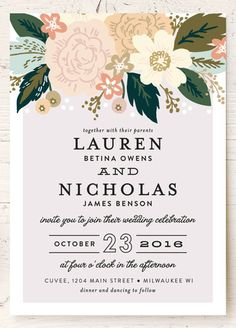 Classic floral wedding invitations from @minted. #boho #chic #elegant #love