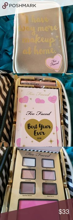 """Too Faced """"I have way more makeup at home"""" Make up Bag with Goodies Includes 3 palettes Brand new!!! Too Faced Makeup Eyeshadow"""