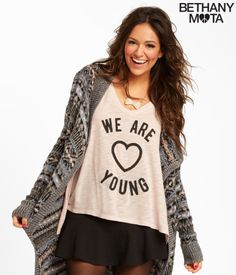 """You guys are gonna have so much fun in my Young V-Neck Boxy Tee! Perf for road trips or just lounging around, this baby is made of the softest, lightest fabric imaginable and I just love the beaded """"We Are Young"""" text and heart graphic. Tell me what ya think, xoxo Beth<br><br>Relaxed fit. Approx. length (XS): 22"""" (front); 27"""" (back).<br>Style: 4288. Imported.<br><br>80% rayon, 20% cotton.<br>Machine wash/dry."""
