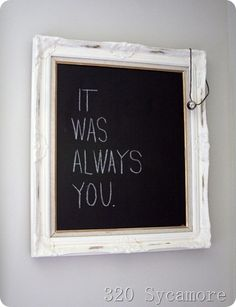 Cute chalkboard for the bedroom