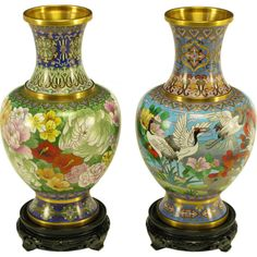 Pair Colorful Chinese Cloisonne Vases http://1stdibs.com/furniture_item_detail.php?id=554456