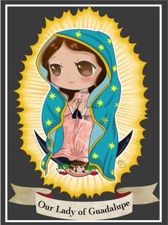 Here is a chibi version of Our Lady of Guadalupe! You can purchase the t-shirt here! Our Lady of Guadalupe - Chibi Virgin Mary Painting, Virgin Mary Art, Chibi, Catholic Art, Religious Art, Saint Tattoo, Jesus Cartoon, Lady Guadalupe, Mary Tattoo