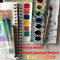 Handbook of Nature Study -Nature Journal Page Idea: Using color is a wonderful way to personalize a nature journal page. Just a little pop of color can make the difference between a good page and a great page.