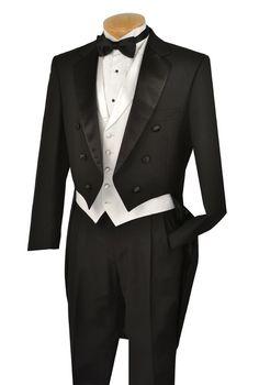 cb637f5669 Vinci Mens Black with White Vest Tuxedo with Tails T-2X+ FREE garment bag !