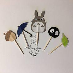 Cupcake Toppers Set de 10 - hollín de Totoro Sprite-Totoro partido - bebé ducha-primera fiesta de cumpleaños decoración de fiesta suministros-muere cortes