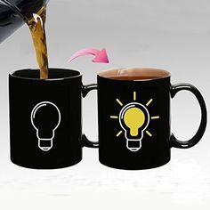 Creative light Bulb Temperature Sensing Cup Personalized Ceramic Color Change Cup Art Coffee Mug Birthday Gifts Color Changing Coffee Mug, Cup Art, Personalized Cups, Ceramic Cups, Novelty Gifts, Office Gifts, Tea Mugs, Mug Cup, Diy