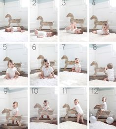take monthly photos of baby with a rocking horse