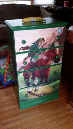 I decoupaged a dresser for my son's Legend of Zelda nursery. - Album on Imgur