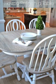 How to Refinish a Table- learn from my tips, tricks, and mistakes! Preserve what you have, but transform it into GORGEOUSNESS! Click through this popular pin to get the step by step tutorial.