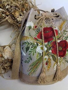 Maľovaná ľanová kabelka s rúškom Mobiles, Burlap, Folk, Reusable Tote Bags, Street, Hessian Fabric, Popular, Mobile Phones, Forks
