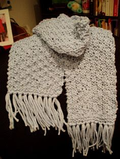 Knitted Basketweave Scarf!  This would be easy to duplicate in a crochet basketweave stitch.