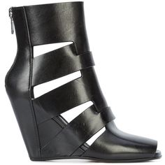 Rick Owens 8CM Lazarus Wedge ($972) ❤ liked on Polyvore featuring shoes, rick owens, open toe wedge shoes, rick owens shoes, rick owens footwear and wedge shoes