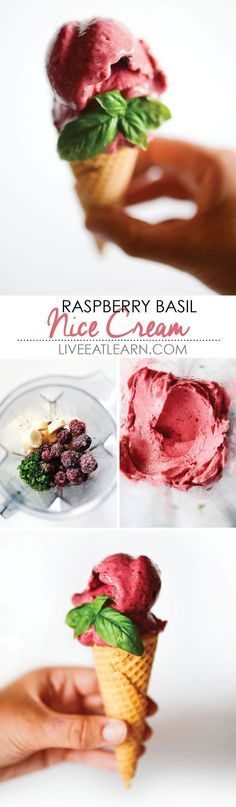 Raspberry Basil Nice Cream