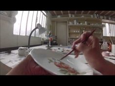 Porcelain painting with liquid color (Meissen Rose and Forget me not)  First painting and Fire - YouTube