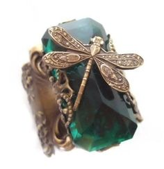 Emerald Dragonfly - Original Fine Filigree Jewelry Art Ring by Vintage Filigree . $65.00, via Etsy.