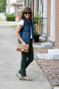FALL FASHION-DENIM VEST AND OLIVE JEANS