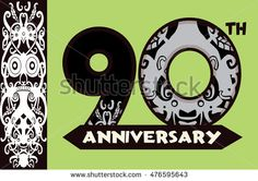 Anniversary logo with Borneo pattern 90th