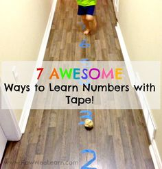 These are great ways to get kids moving and learning numbers. Teach kids to count and more with just a roll of tape! This Kindergarten teacher has some great ideas.