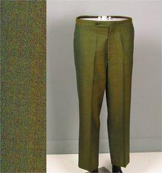 Vintage Mens Pants Trousers 1950s 1960s TRUE SHARKSKIN Preppy Green Mens Vintage Pants Trousers 33S