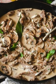 Best Beef Stroganoff ~ This beef stroganoff features such ingredients like mushrooms, sour cream, mustard, brandy and bay leaves. This is a unique recipe that combines a terrific flavour and incredible taste.