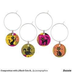 Composition with 5 Black Cats Autumn Frolic Colors Wine Glass Charm