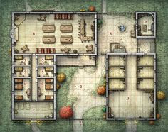 A series of battle maps created for a variety of fantasy tabletop RPGs. Fantasy Map Making, Fantasy City Map, Fantasy Rpg, Pathfinder Maps, Rpg Map, Adventure Map, House Map, Dungeon Maps, Tabletop Rpg
