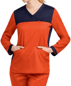 Keep yourself warm and stylish all shift long with the Happy Scrubs Contrast Long Sleeved Scrub Top. Shop for long sleeved scrub tops at Uniform Advantage! Yoga Scrub Pants, Uniform Advantage, Scrub Jackets, Lab Coats, Medical Uniforms, Scrub Tops, Work Attire, Scrubs, Long Sleeve Tops