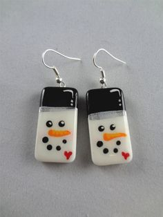 Frosty+The+Snowman+Hand+painted+Domino+Earrings+by+pendantparadise