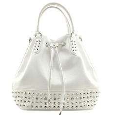 chic drawstring handbag featuring lower stud accents with clear stone embellishment, exterior back zippered pocket and signature logo plate. By Nicole Lee