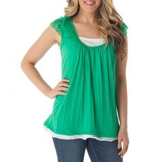 $12.99 Lace Cap Sleeve Two-Fer Top - Stylish Tops for Mom - Events