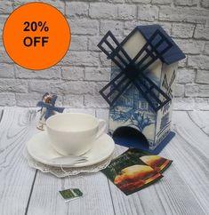 Windmill Teahouse Wooden tea box time decoupage tea chest box tea bag caddy organizer holder storage tea house box farmhouse table sale item