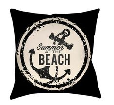 "Buy the Surya Black / White Direct. Shop for the Surya Black / White Litchfield Wide Square Novelty ""Summer at the Beach"" Polyester Outdoor Accent Pillow Cover and save. Black White Bedding, Litchfield Beach, 20x20 Pillow Covers, Nautical Theme, Vibrant Colors, Throw Pillows, Christmas Central, Classy, Beach Fashion"