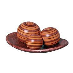 Trio Esferas mais Prato Decorativo. Indispensável para a sua casa. Ideal para dar um toque de charme e elegância para a sua mesa.