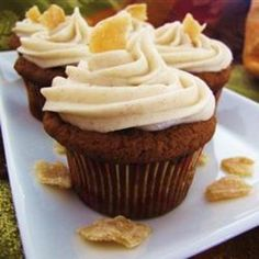 Pumpkin Ginger Cupcakes    Ingredients  2 cups all-purpose flour  1 (3.4 ounce) package instant butterscotch pudding mix  2 teaspoons baking soda  1/4 teaspoon salt  1 tablespoon ground cinnamon  1/2 teaspoon ground ginger  1/2 teaspoon ground allspice  1/4 teaspoon ground cloves  1/3 cup finely chopped crystallized ginger  1 cup butter, room tempe