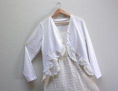 lace collage. women's large white cardigan tattered altered upcycled clothing lagenlook bohemian shabby bolero jacket eco chic doily fashion