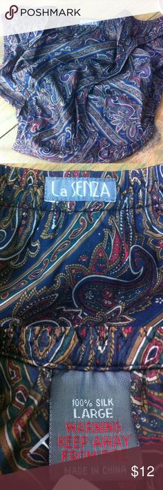 NWT La Senza silk panties NWT  High cut leg -100% silk. Never worn - colors are dark blue , olive green, deep red , dark green and a bit of white in a paisley print La Senza Intimates & Sleepwear Panties