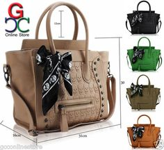 Womens Ladies Designer Faux Leather Tote Satchel Skull Scarf Bag Smile Handbag