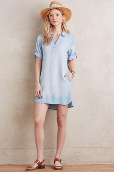 Washed Chambray Popover - anthropologie.com
