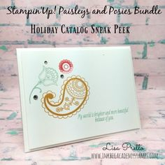 Stampin'Up! Paisleys and Posies stamp set, Paisleys Framelits, Holiday Catalog sneak peek, clean and simple, Lisa Pretto, inkbigacademystamps