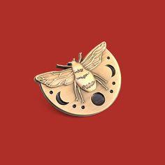Lunar Bee Lapel Pin // Artist Series pin by Jess Polanshek // Honeybee Bumblebee Autumn Fall Inspired Three-dimensional Brass Gift by lostlustsupply on Etsy https://www.etsy.com/listing/525818599/lunar-bee-lapel-pin-artist-series-pin-by